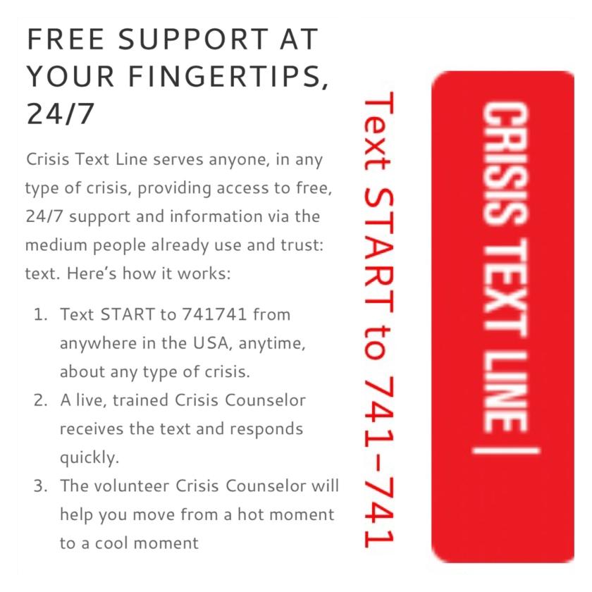 Crisis Text Line Info